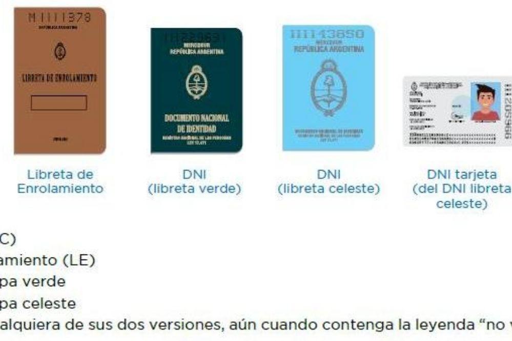 Cuáles son los documentos válidos para votar